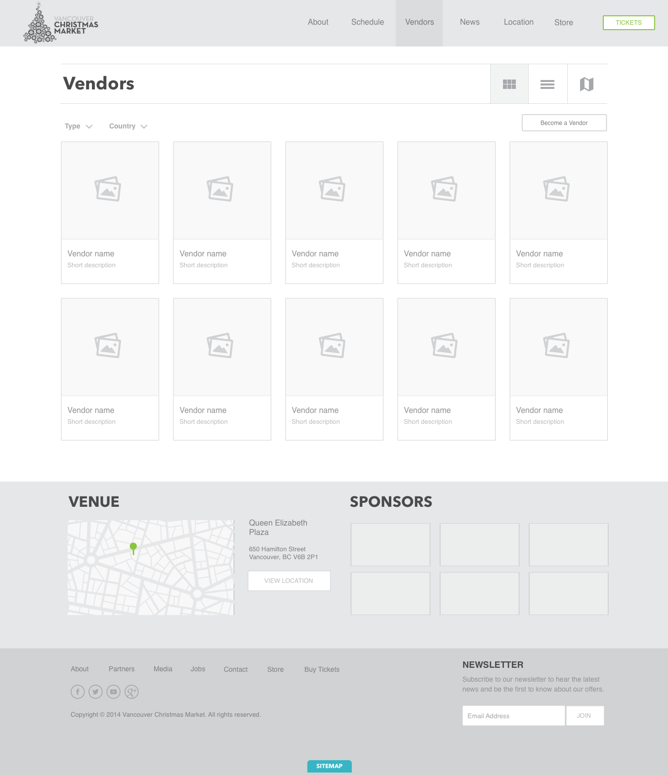 Vendor Listing Wireframe